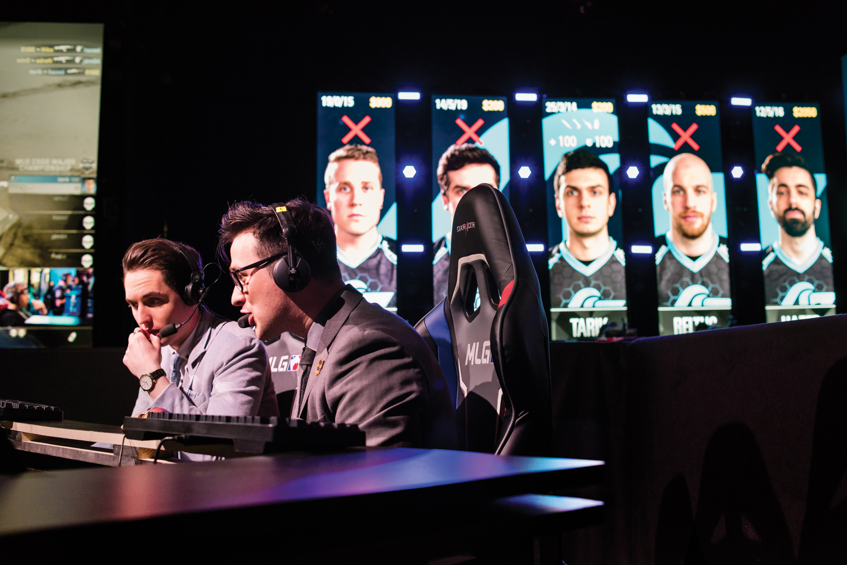 "Henry ""HenryG"" Greer and Auguste ""Semmler"" Massonnat give play-by-play commentary on a match between Counter Logic Gaming and Team Liquid during the first day of the MLG Finals in Columbus, Ohio."